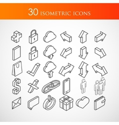Set of 30 isometric icons vector