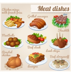 Set of food icons Meat dishes vector image