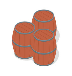 set of wood beer barrels icon isometric style vector image