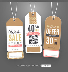 set with sale labels winter sale event vector image