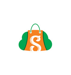 Shopping bag cloud sale logo vector