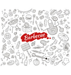 sketch barbecue party elements set vector image