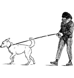 Sketch city girl with her dog going for a walk vector