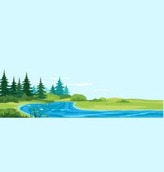 Small river nature landscape vector