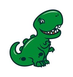 Smiling dinosaur - a cute cartoon character mascot vector