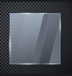 square glass banner glossy frame template vector image