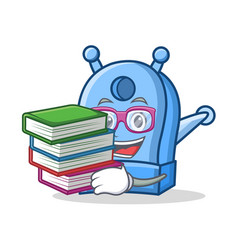 Student with book pencil sharpener character vector