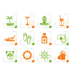 stylized sea marine and holiday icons vector image