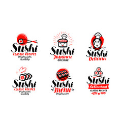 Sushi sashimi logo or label set japanese cuisine vector