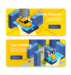 taxi application service banner templates vector image