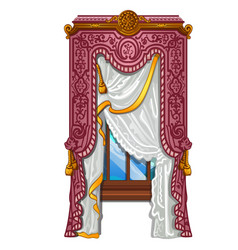 the ornate curtain in the interior vector image
