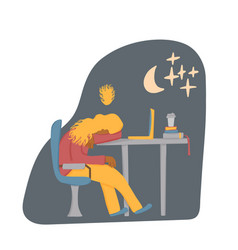 Tired person sitting and sleeping design vector