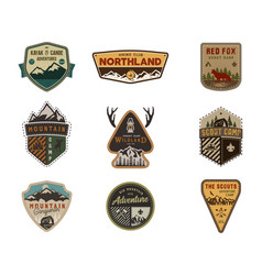 Traveling outdoor badge collection scout camp vector