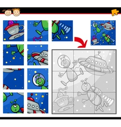 Ufo aliens jigsaw puzzle game vector