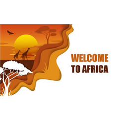 welcome to africa poster paper cut vector image