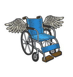 Wheelchair with wings sketch engraving vector
