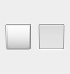 White square buttons web interface plastic blank vector