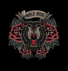 wild ride logo in traditional tattoo vector image