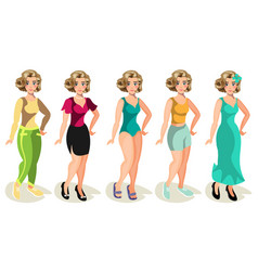 woman in different clothes on a white background vector image