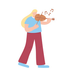 woman playing violin musical instrument isolated vector image