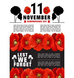 World remembrance day banner vector