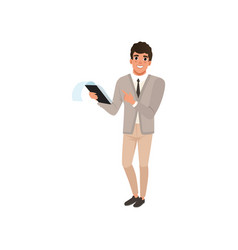 young businessman with smiling face expression vector image