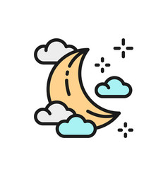 Young moon in clouds flat color icon vector