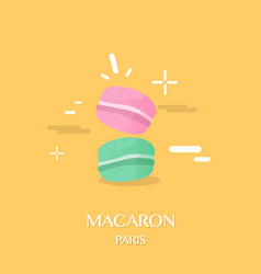 a pair of macaron with yellow background design vector image