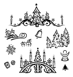 Christmas trees angel bell vector image
