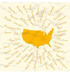 Hand Drawn USA states on crumpled paper vector image