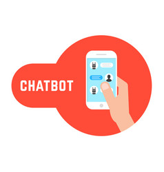 hand holding phone with chatbot vector image vector image