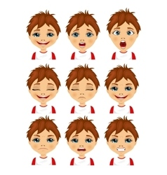 Isolated set of boy avatar expressions vector image