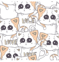 seamless pattern with hand drawn kitten cartoon vector image vector image