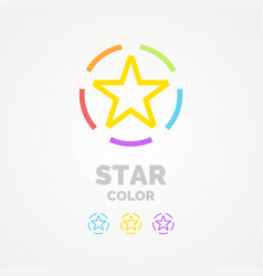 a colored star on a white background the sign and vector image