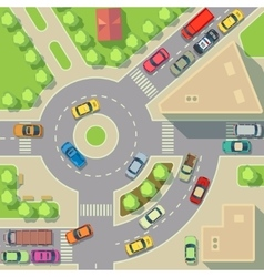 City map with top view cars and houses vector image
