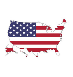 United states of america map with flag north vector
