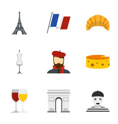 welcome to france icons set flat style vector image