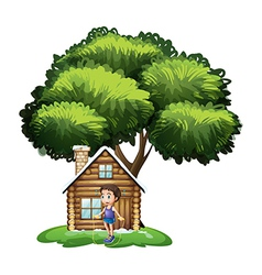 A boy playing outside the wooden house vector image vector image