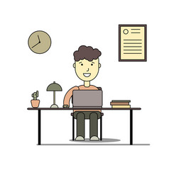 boy smiling and doing homework with laptop vector image vector image