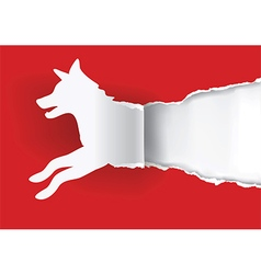 Dog silhouette ripping paper vector image vector image