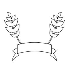 Banner emblem with olive branches icon image vector