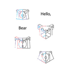 bear triangle heads vector image vector image