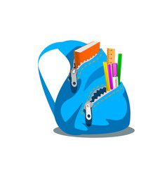 blue backpack with supplies vector image vector image