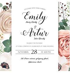 floral wedding invitation elegant invite card vector image