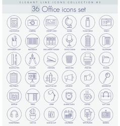 Office Outline icon set Elegant thin line vector image
