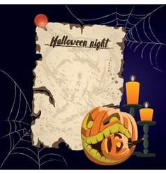 vintage parchment Halloween night vector image