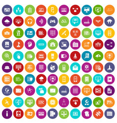 100 database and cloud icons set color vector image