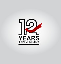 12 years anniversary logotype with black outline vector