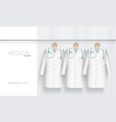 3d medical gown with stethoscope on hanger vector