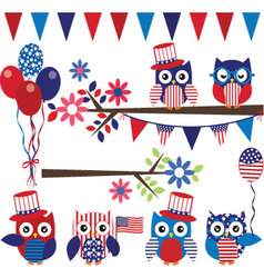 4th of july owl with branch collection vector
